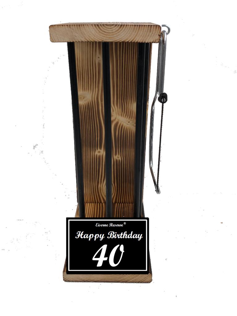Happy Birthday 40 Black Edition Eiserne Reserve ® Größe L zum SELBST BEFÜLLEN