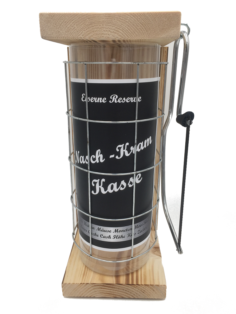 Nasch - Kram Kasse Eiserne Rerserve Spardose incl. Bügelsäge zum zersägen des Gitters
