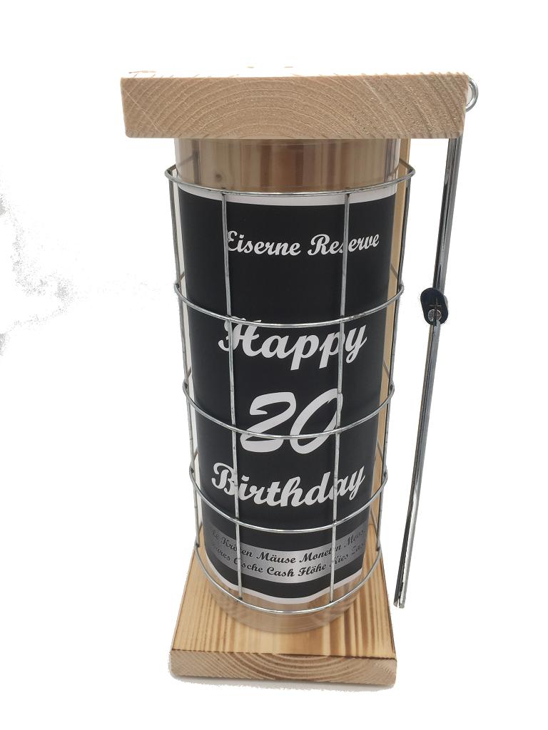 Happy Birthday 20 Eiserne Rerserve Spardose incl. Bügelsäge zum zersägen des Gitters