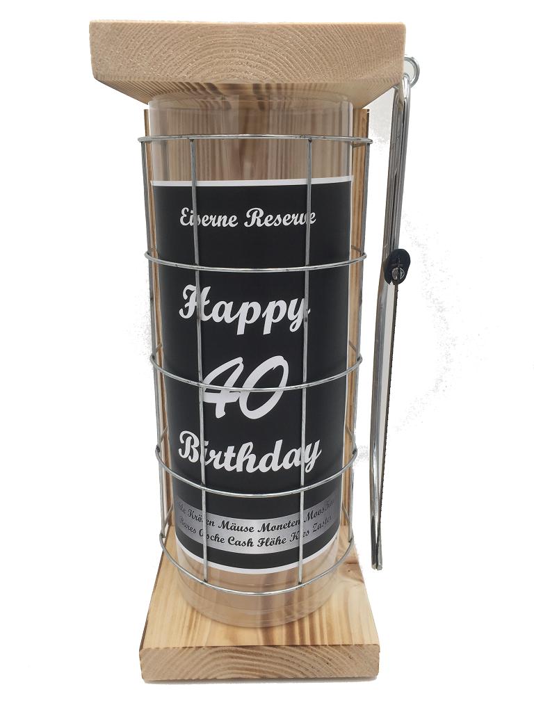 Happy Birthday 40 Eiserne Rerserve Spardose incl. Bügelsäge zum zersägen des Gitters
