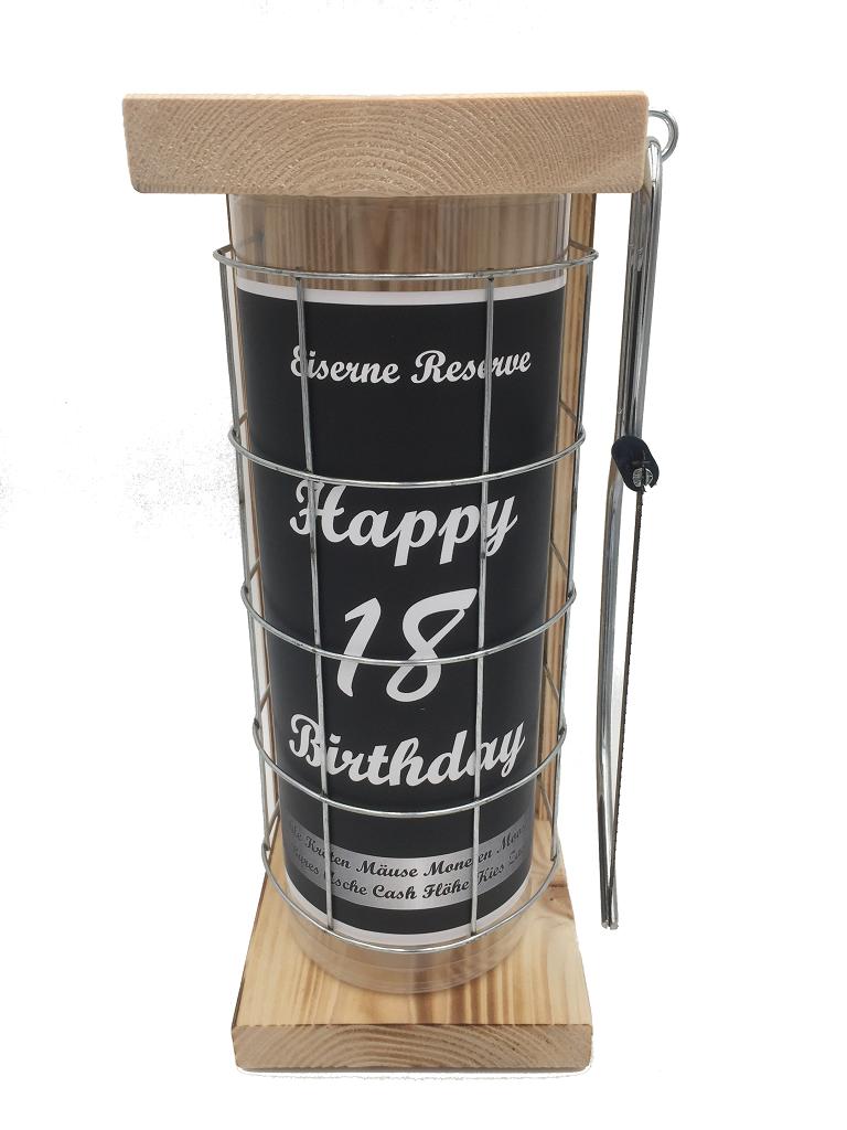 Happy Birthday 18 Eiserne Rerserve Spardose incl. Bügelsäge zum zersägen des Gitters