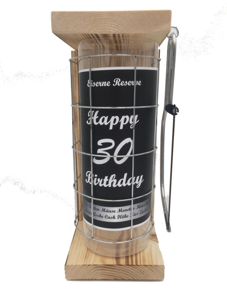 Happy Birthday 30 Eiserne Rerserve Spardose incl. Bügelsäge zum zersägen des Gitters