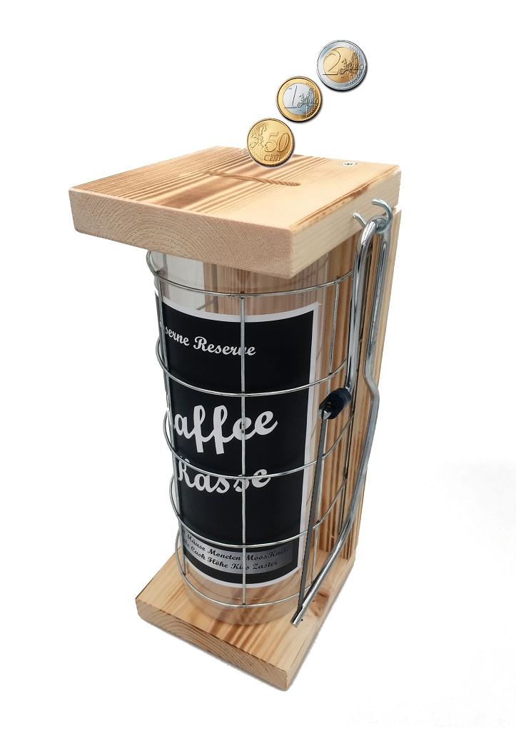 Kaffeekasse Eiserne Rerserve Spardose incl. Bügelsäge zum zersägen des Gitters