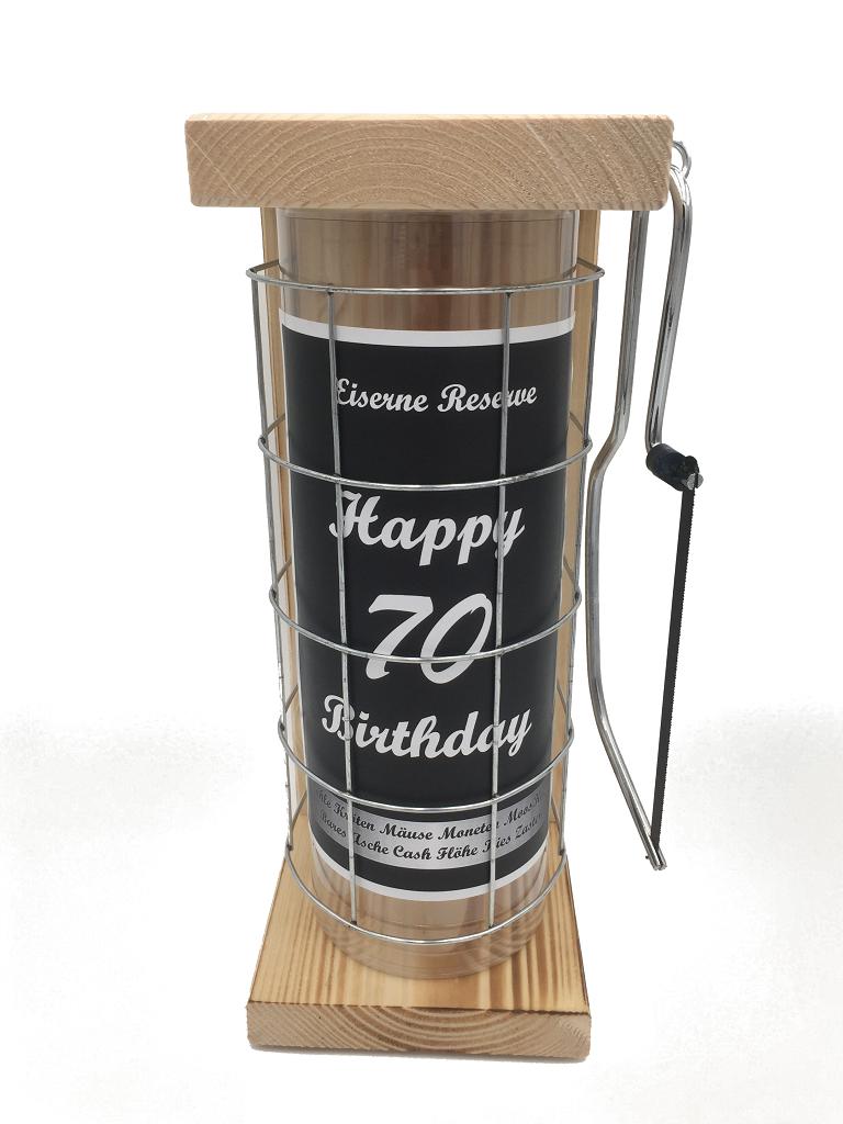 Happy Birthday 70 Eiserne Rerserve Spardose incl. Bügelsäge zum zersägen des Gitters