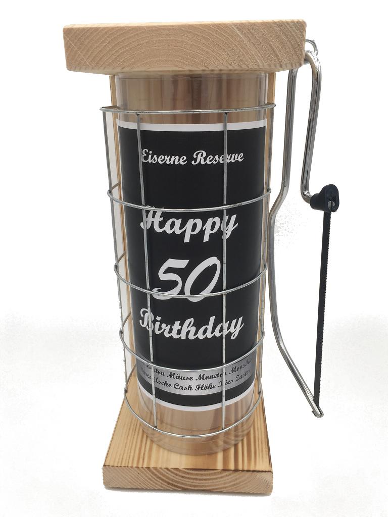 Happy Birthday 50 Eiserne Rerserve Spardose incl. Bügelsäge zum zersägen des Gitters