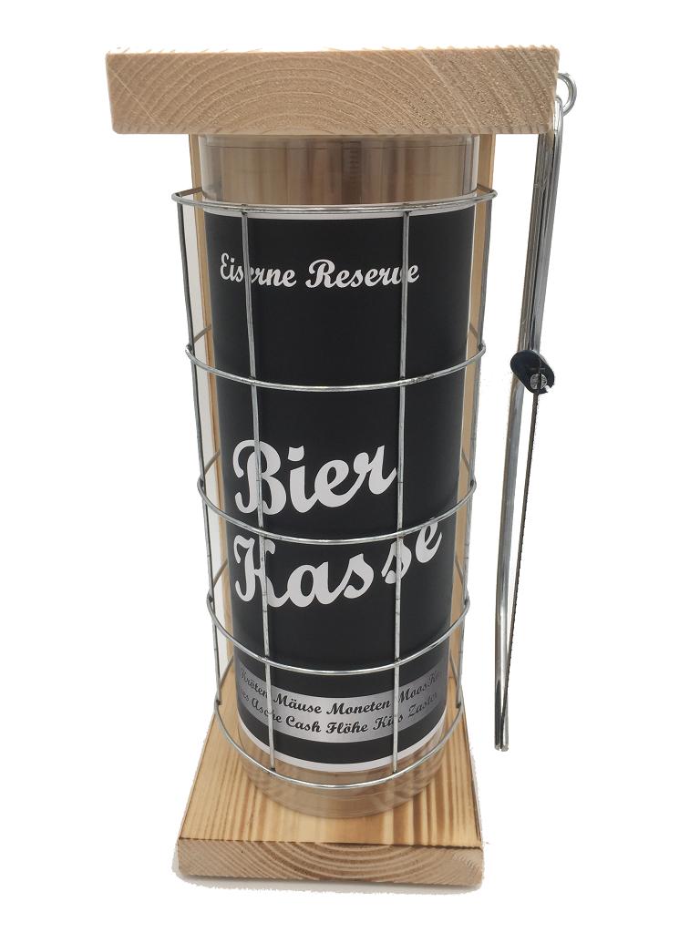 Bierkasse Eiserne Rerserve Spardose incl. Bügelsäge zum zersägen des Gitters