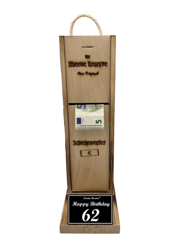 Happy Birthday 62 Scheinwerfer - Geldautomat - Geldgeschenk