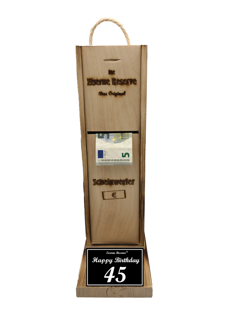 Happy Birthday 45 Scheinwerfer - Geldautomat - Geldgeschenk