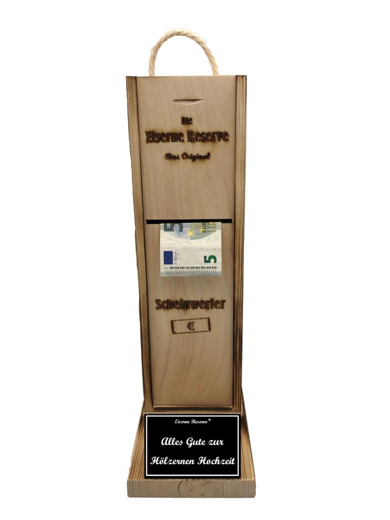 Alles Gute zur Hölzernen Hochzeit Scheinwerfer - Geldautomat - Geldgeschenk