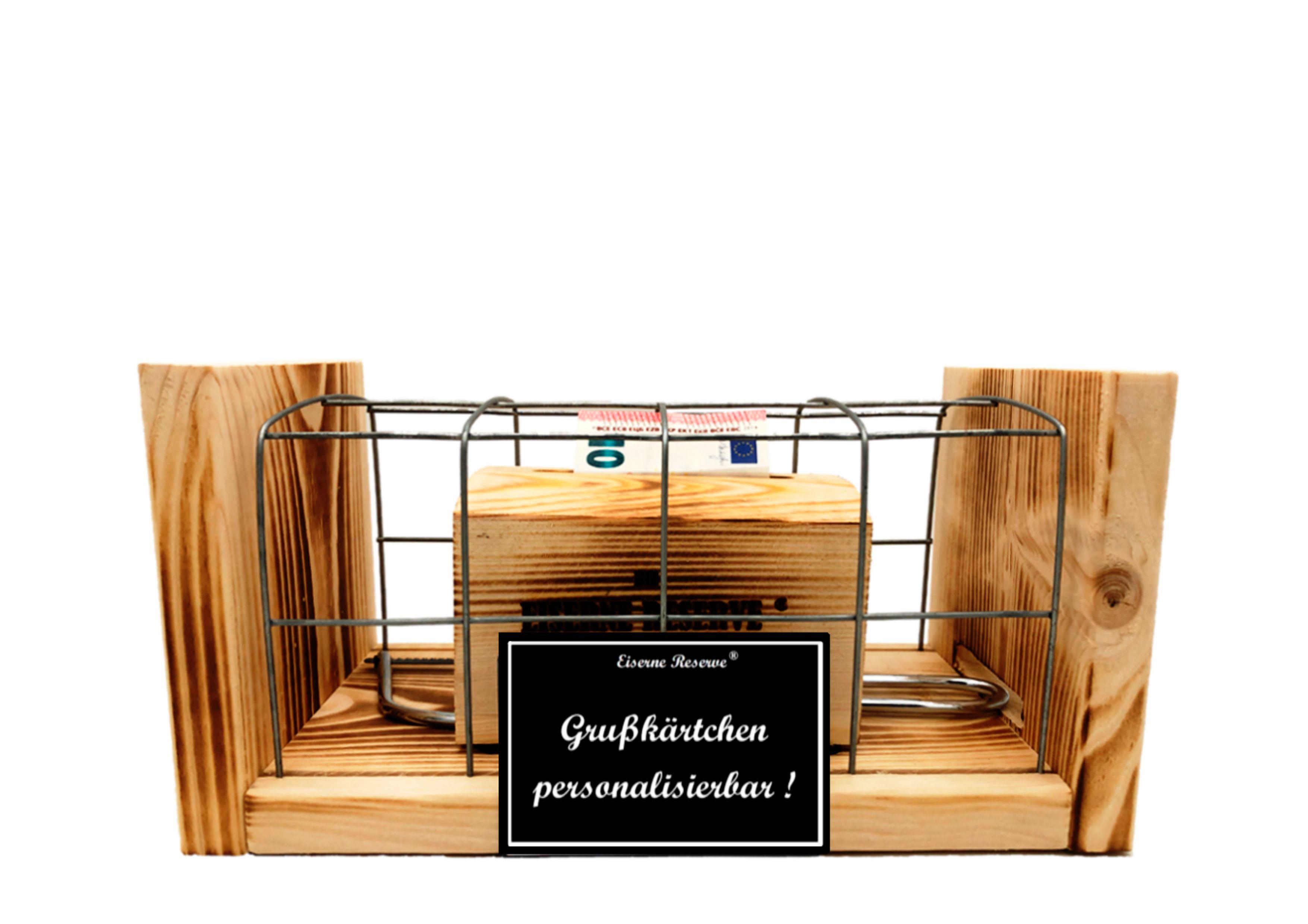 Personalisierbar  Eiserne Reserve ® Geldbox hinter Gitter Geldgeschenk