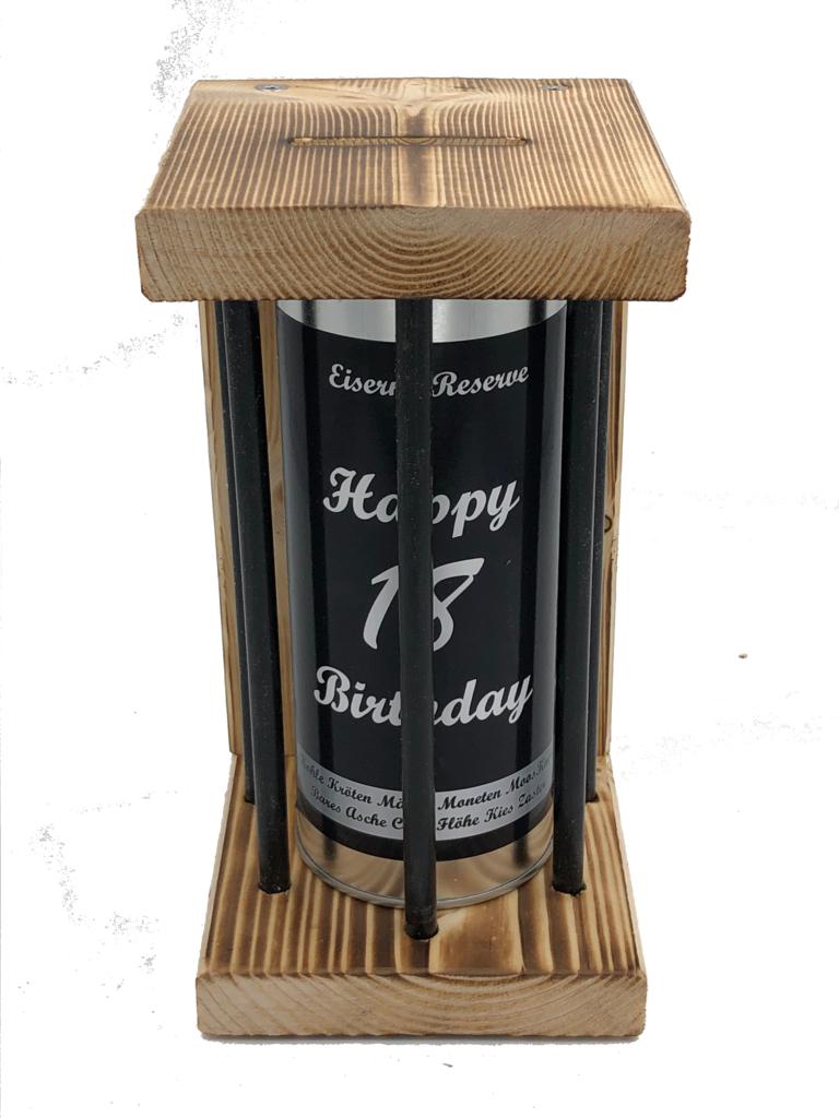 Happy Birthday 18 Eiserne Reserve ® Black Edition Spardose