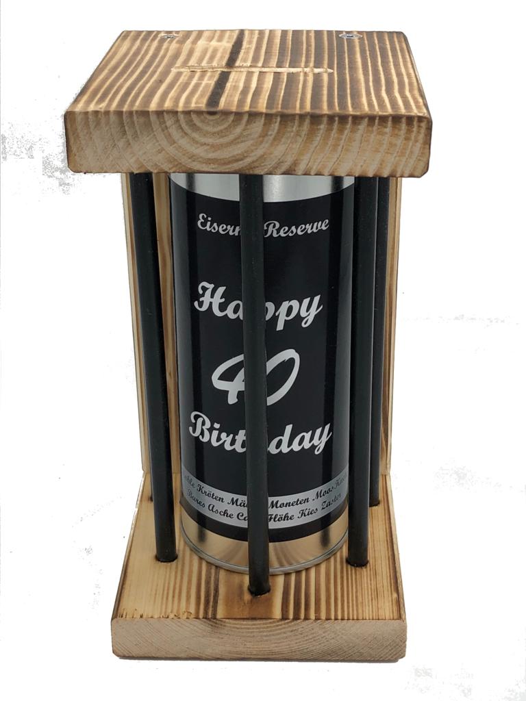 Happy Birthday 40 Eiserne Reserve ® Black Edition Spardose